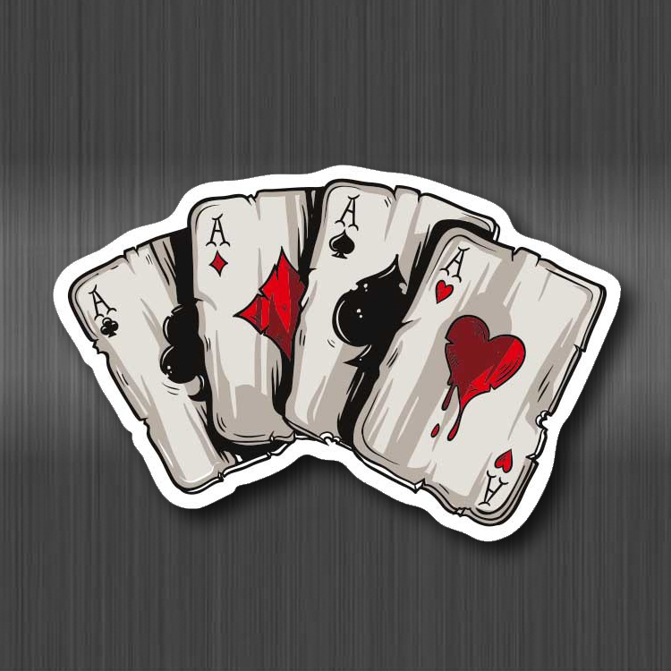 Four A Poker Sticker Fashion Waterproof Suitcase Laptop Guitar Luggage Skateboard Bicycle Toy Lovely Moto Stickers