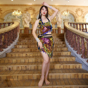 Image 2 - Женский набор костюма для танца живота, комплект из 2 предметов: бюстгальтер и юбка, Сексапильный шарф с блестками, Одежда для танцев