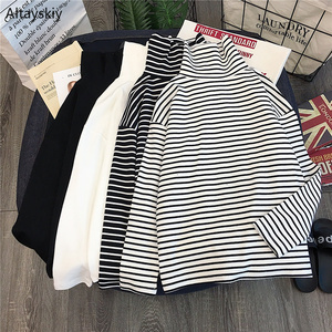 T-shirts Women Long Sleeve Loose Striped Solid Turtleneck Womens T-shirt All-match Simple Leisure Korean Style Trendy Chic Soft