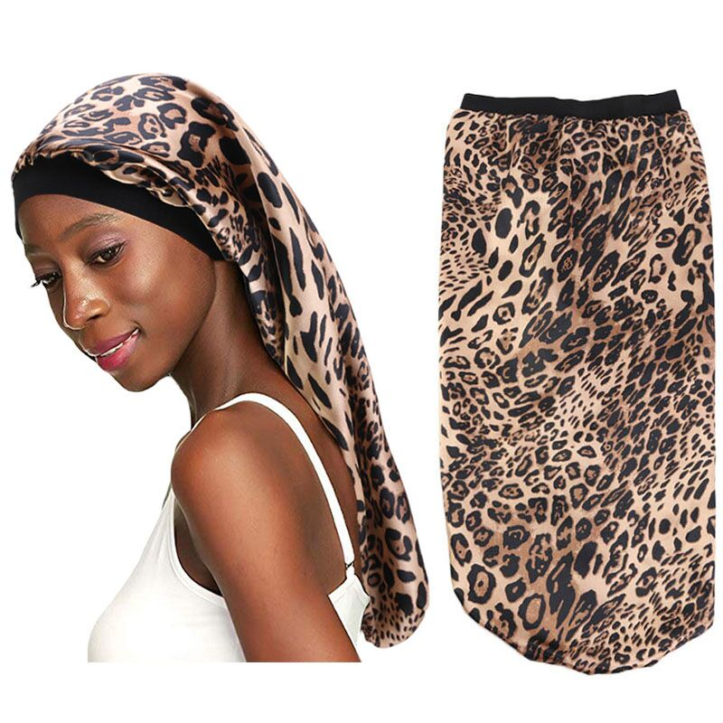 New Fashion Long Satin Bonnet Sleep Cap With High Elastic Hair Band Night Cap Hair Care Bonnet Nightcap For Women Men Chemo Cap