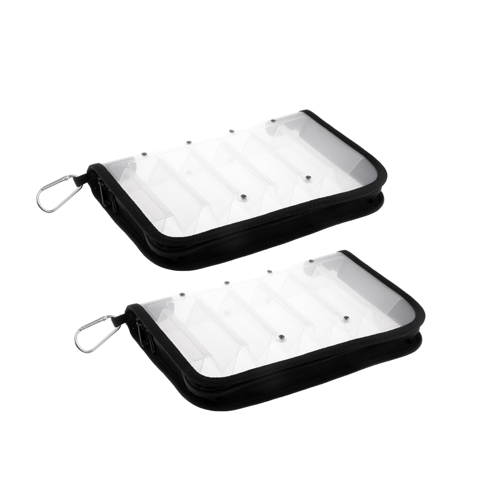 2pcs Clear Squid Jig Bait Bag for 12 Jigs Lure Washable Fishing Lures Storage Bag Case Hung on Vest Backpack Fishing Tackles Bag