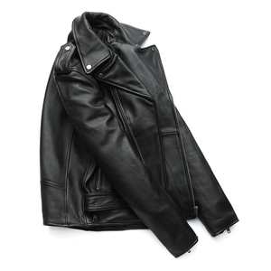 Image 4 - MAPLESTEED Classical Motorcycle Jackets Men Leather Jacket 100% Natural Calf Skin Thick Moto Jacket Winter Sleeve 61 67cm M192