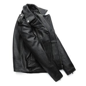 Image 4 - Maplesteed clássico motocicleta jaquetas jaqueta de couro masculino 100% natural pele de bezerro grosso moto jaqueta manga de inverno 61 67cm m192