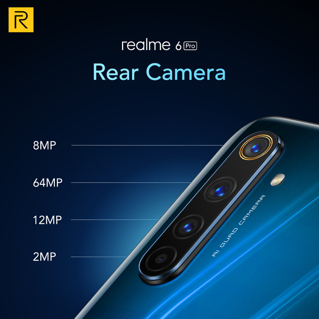 Realme 6 Pro Mobile Phone 6.6inch 90Hz Display 64MP Camra 8GB 128GB Snapdragon 720G Smartphone 4300mAh Battery 30W Flash Charge 10