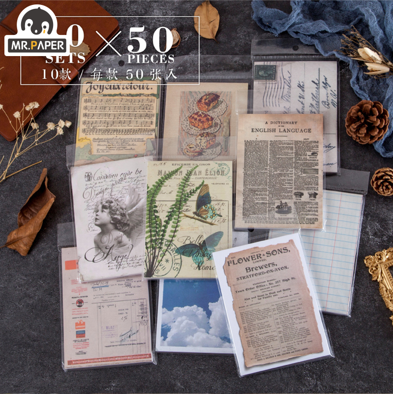Mr.paper 50pcs/lot Vintage Plants Medieval Draft paper Card Journaling Bullet DIY Scrapbooking Material Card Retro LOMO Cards 2