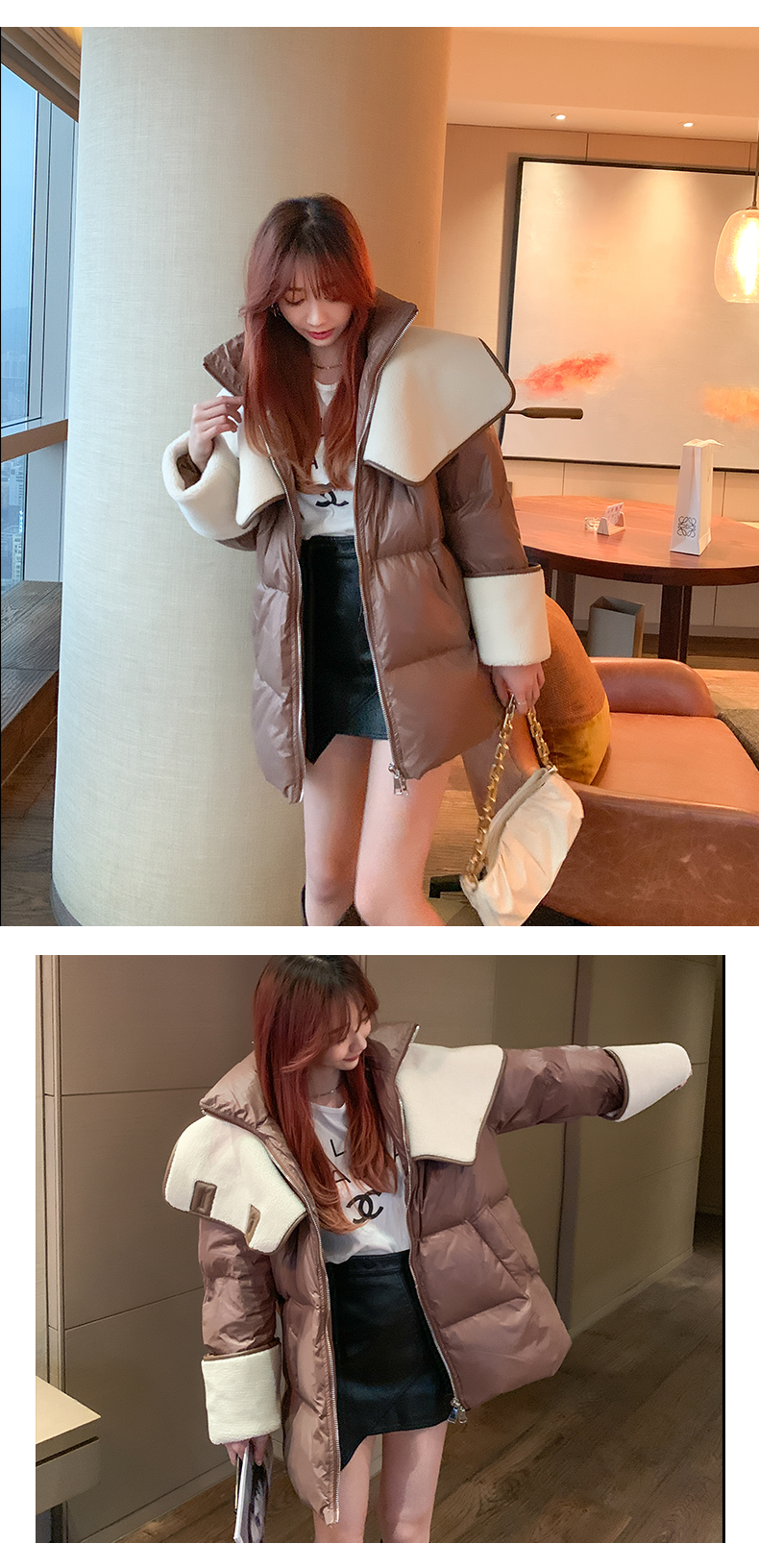 Hb0403e5839964a4084d1331b584e45e1H 2021 winter new down jacket women new fashion mid-length loose and thin lamb hair stitching white duck down long-sleeved jacket
