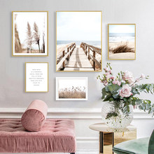 Nature Landscape Lake Beach Wall Art Bridge Canvas Painting Reed Nordic Poster Calm Wall Picture For Living Room Home Decor