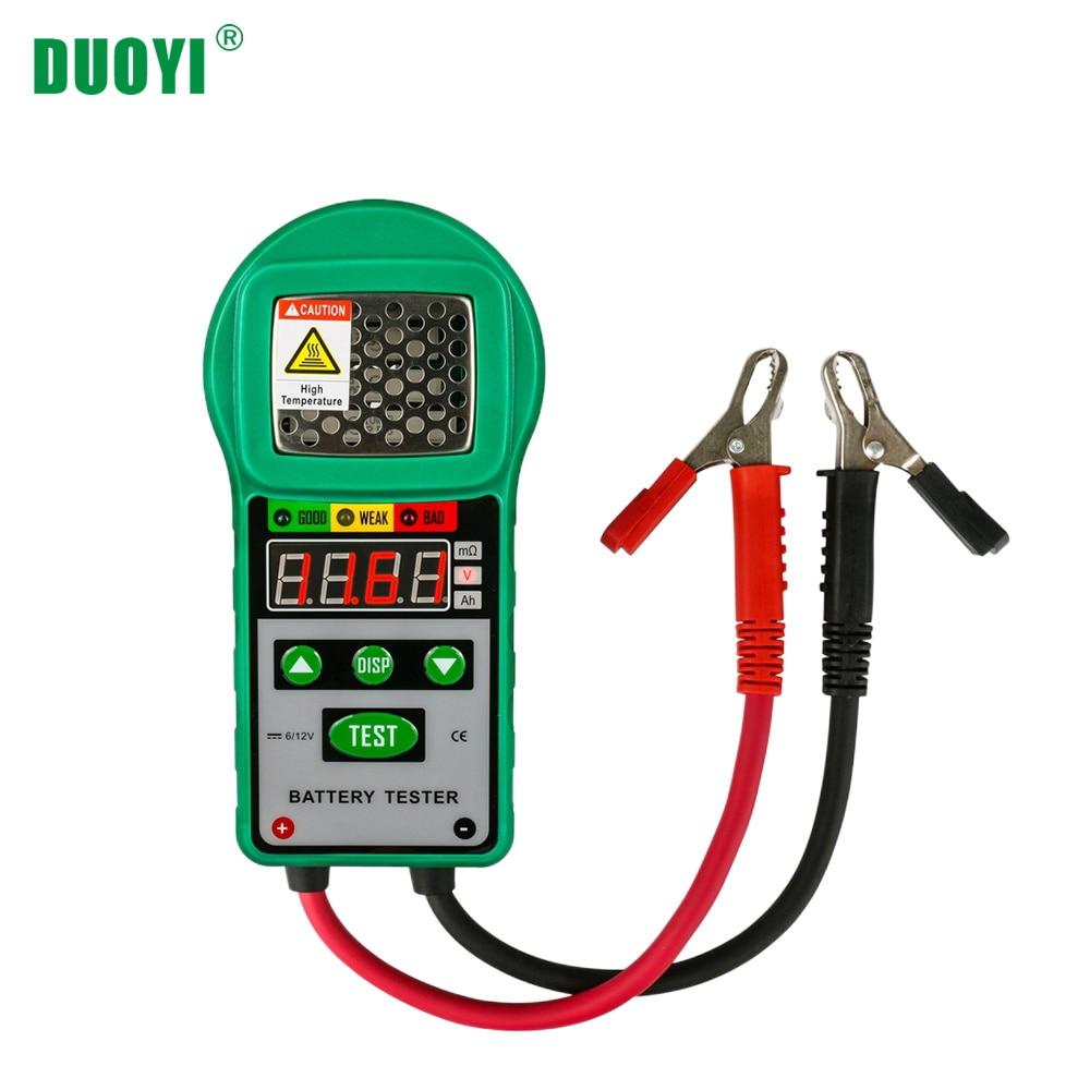 DUOYI DY225 Car Battery Tester Analyzer 6V 12V DC Automotive Resistance Test Auto for Electric Battery Energy Storage Marine