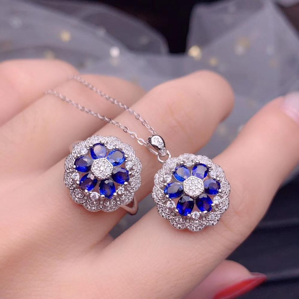 Oval corte azul natural safira pingente colar de flores e anel conjunto, 925 prata esterlina flor ameixa pedra preciosa conjunto jóias ft262 - 3