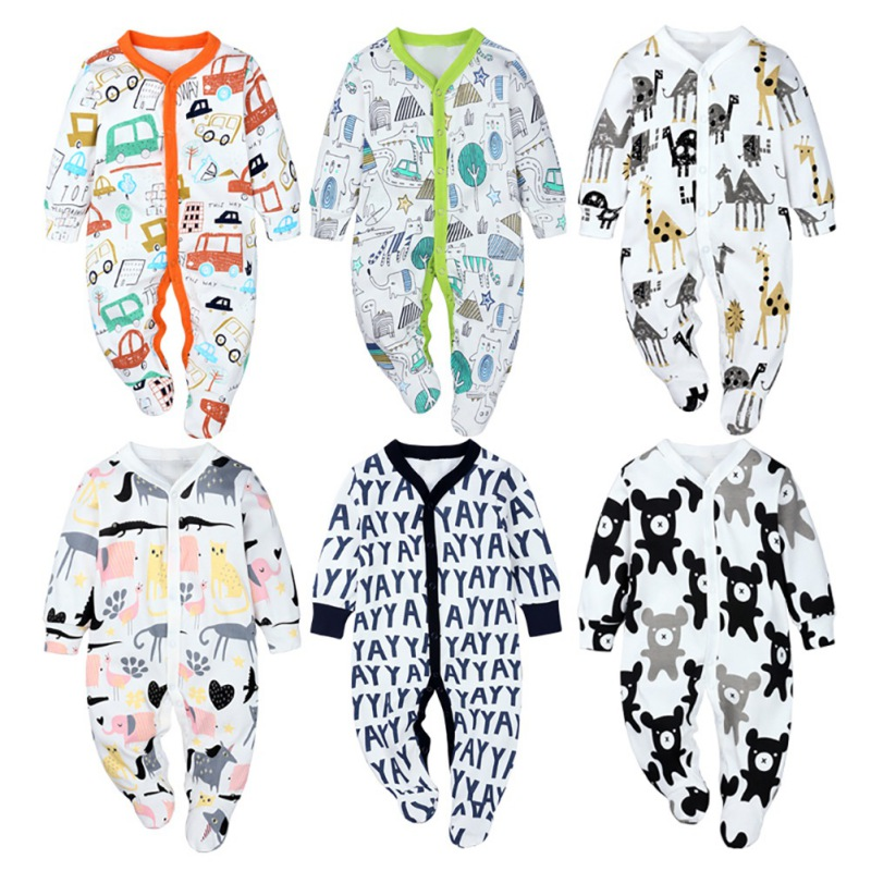 Cartoon Animal Print Newborn Baby Clothes Boys Girls Romper Long Sleeve Cotton Romper Kids Jumpsuit Playsuit Outfits