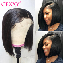 Cexxy Lace-Front Wigs Short Bob Hairline Remy-Hair Pre-Plucked 13x6