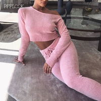PFFLOOK 2019 Knitted Sweater Two Piece Set Women Long Sleeve Crop Top Long Pants Sexy Autumn Winter 2 Piece Set Elegant Outfits