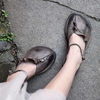 Artmu Original Retro Ruffled Women's Shoes Mary Jane For Women IN Flats Handmade Closed Toe Sandals Genuine Leather Shoes Flats