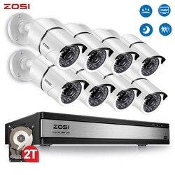 ZOSI 16CH 1080p видео наблюдения Системы с 8 шт. 2MP Ночное видение на открытом воздухе/домашние Безопасности S 4-в-1 CCTV DVR Kit