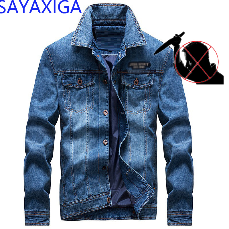 Self-defense Men Jeans Jacket Anti Cut Clothes Fashion Knife Cut Resistant Stab Proof Defense Police Swat Safety Denim Jacket4XL