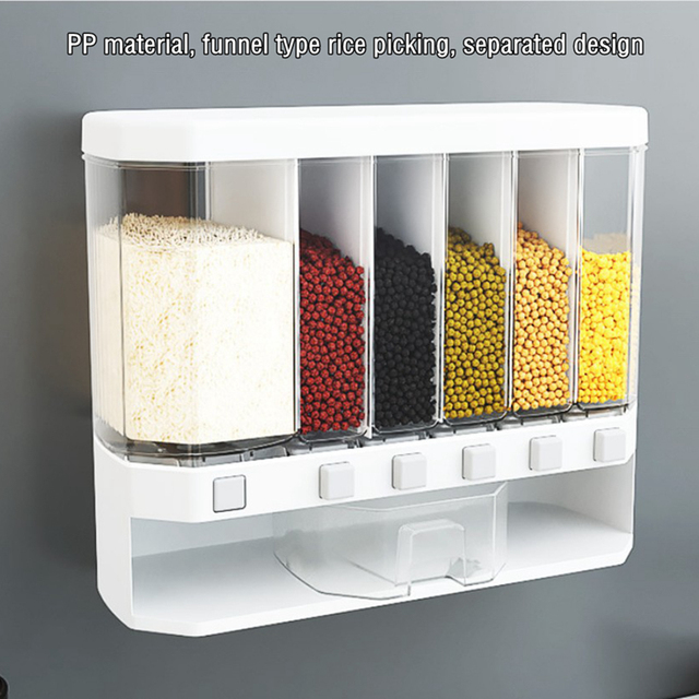 6 in 1 Wall-Mounted Cereals Dispenser Press Grain Storage Tank Dry Food Organizer Rice Dispenser for Home and Kitchen