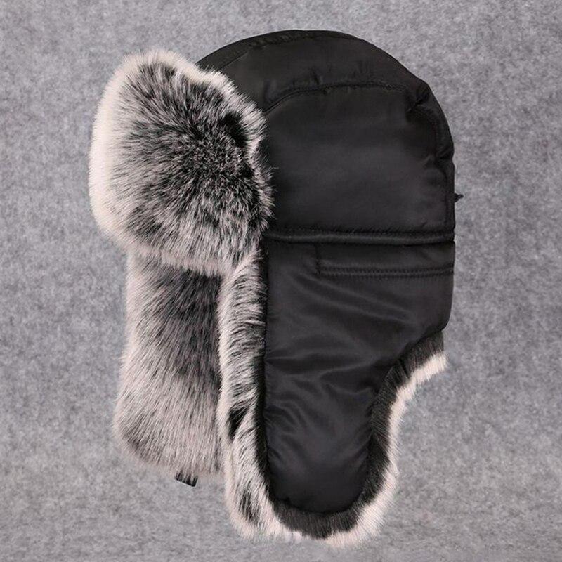 Bomber Hat Faux Fur Russian Ushanka Warm Winter Snow Cap Adjustbale Thicken Trapper Hats For Men Women