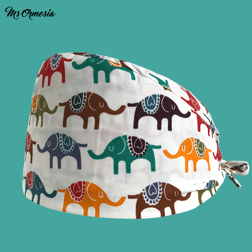 New High Quality White Elephant Pattern Medical Cap Scrub Nurse Work Cap Men And Women Surgical Dental Cap Cotton Medical Hat