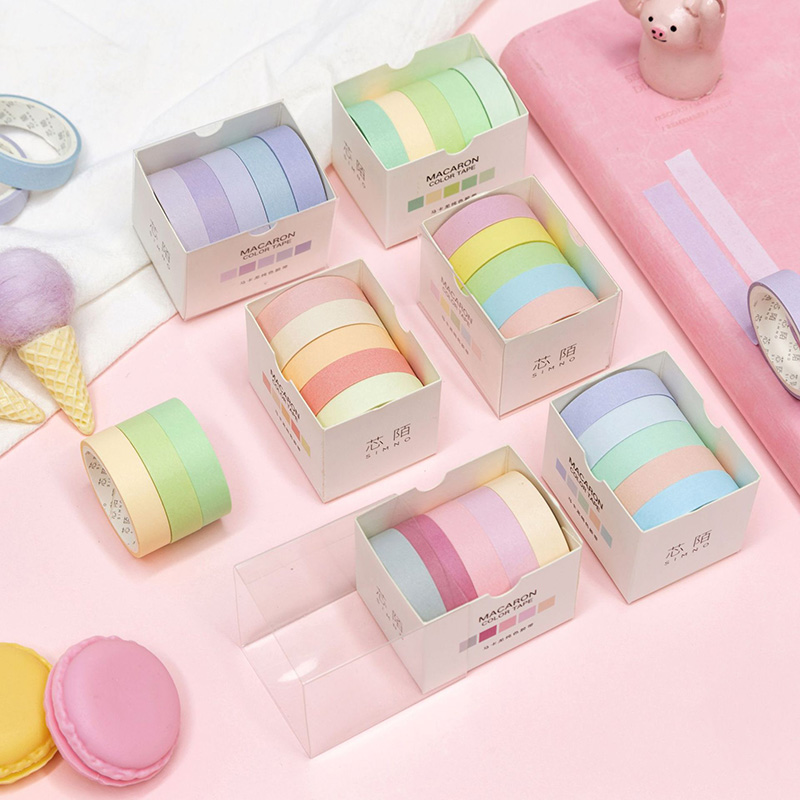 5Pcs Cute Solid Color Washi Tape Set Kawaii Decorative Adhesive Masking Tape For Kids Scrapbooking DIY Photos Albums Supplies