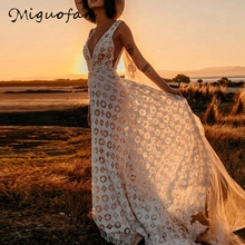 цена на Miguofan Hollow Out Lace Maxi Dress Women Deep V-neck Backless Party Dresses Backless Sexy White Women Summer Dress Female 2019