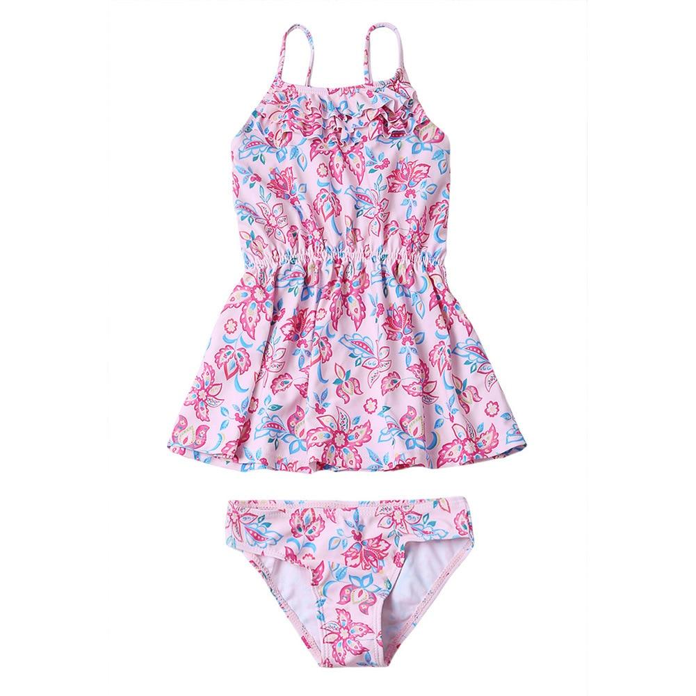 Swimming Suit GIRL'S Swimsuit Multilayer Frill Printed Conservative Bikini Split Type Set Big Boy TZ410039