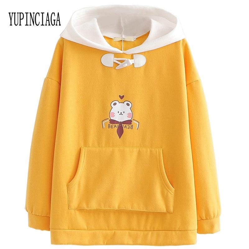 YUPINCIAGA Korean Version Of The Bear Plus Velvet Front Back Large Pocket Hooded Pullovers Women's Tops Kawaii Yellow Hoodies