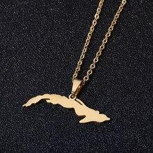 Aço inoxidável cuba mapa pingente colares para mulheres cor de ouro tamanho pequeno mapa jóias aniversário presente