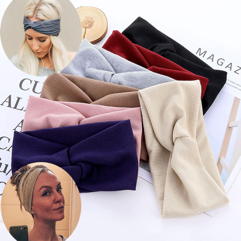 Cotton Elastic Knot Headbands Hair Accessories For Baby Girl Twist Cross Hairband Makeup Head Band 2020 Women Fashion Hair Ties