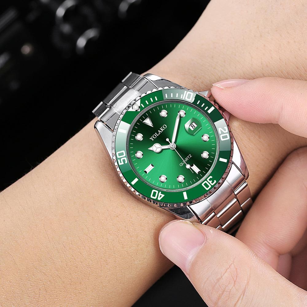 2020 Luxury Men's Watch Stainless Steel Waterproof Clock Men's Quartz Calendar Watch Fashion Sports Green Dial Watch Reloj Hombr