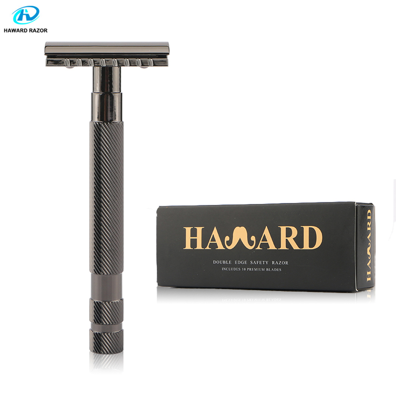 HAWARD Safety Razor Men's Classic Manual Razor Double Edge Shaving Razor Zinc Alloy Metal Shaver Hair Removal Shaver 10 Blades