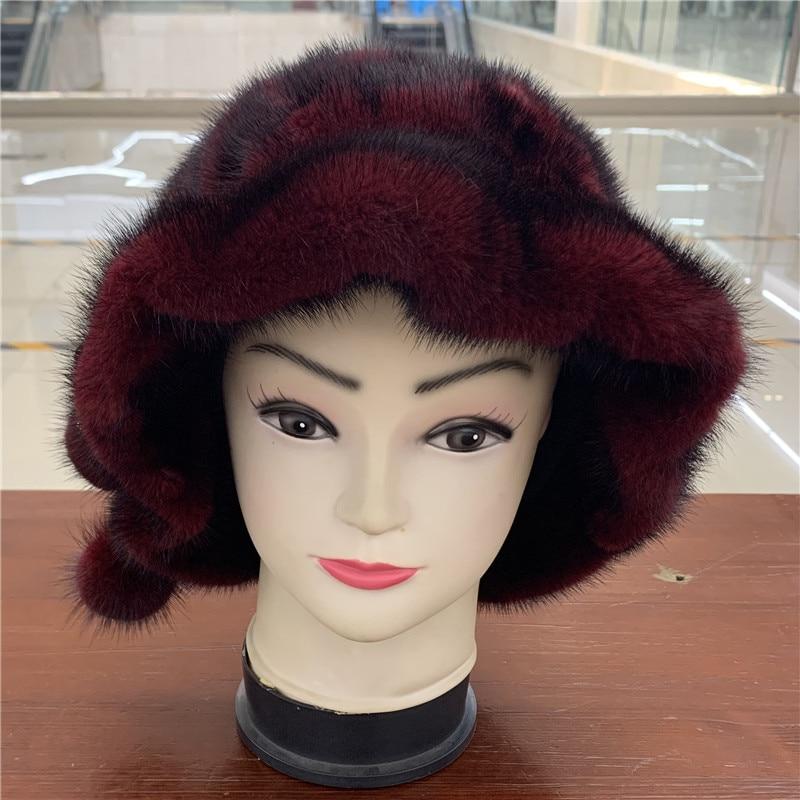 Winter Hat Female Fashion Mink Hat Chic Style Comfortable Warm Twelve -Angle Hat New Luxury Mink Hat