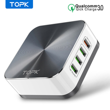 TOPK 8 Port Quick Charge 3.0 USB Charger Desktop Fast Phone Charger Adapter for iPhone Samsung Xiaomi