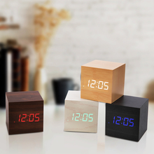 Portable Creative Voice-Activated LED Wooden Clock Luminous Lazy Square Led Digital Electronic Alarm