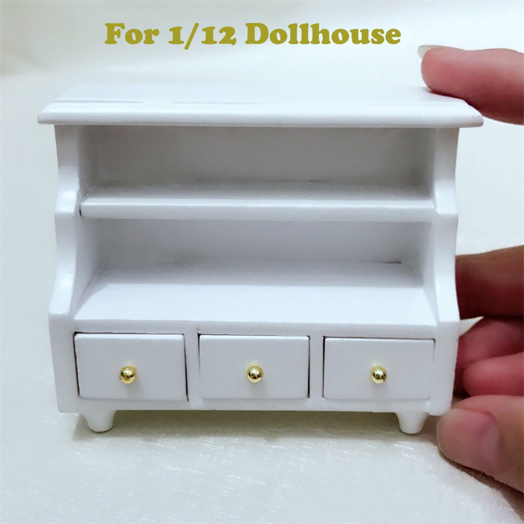HIINST New Play House Toy White 1:12 Dollhouse Cabinet Miniature Furniture Toilet Attractive Bathroom Mini Drawer For Shelf