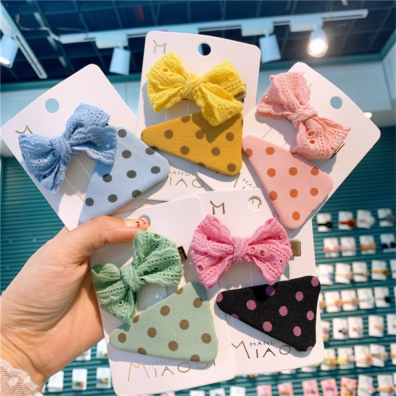 2Pcs/Set Lattice Bow Hairpin Cloth Art Dot BB Clip Small Fresh Lovely Lace Girls Headdress Hairpin Spring And Summer New