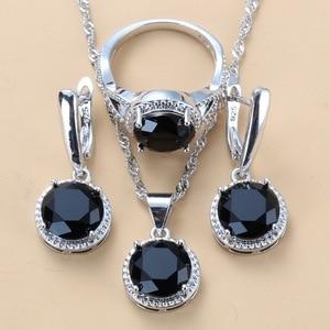 Набор украшений из стерлингового серебра 925 пробы, 10 цветов, круглые черные циркониевые висячие серьги и ожерелье, набор колец для женщин, мо...