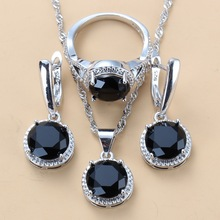 925 Sterling Silver 10-Color Jewelry Sets Round Black Zircon Dangle Earrings and Necklace Ring Sets For Women Trendy Costume cheap Manny Della Fashion Vintage Semi-precious Stone Party Bridal Jewelry Sets Pendant Chain Necklace Earring Ring Cubic Zirconia Crystal