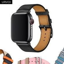 Urvoi única banda de turismo para apple watch 6 se 5 4 3 2 pulseira para iwatch cinto luxo couro genuíno swift laço artesanal nior preto