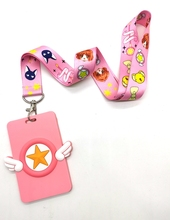 1 Pcs Japanischen anime Card Captor Sakura Lanyard Schlüssel Ketten Karte Inhaber Bank Card Neck Strap Karte Bus ID Halter cheap CN (Herkunft) Kein Mode Unisex Schlüsselanhänger Face TRENDY