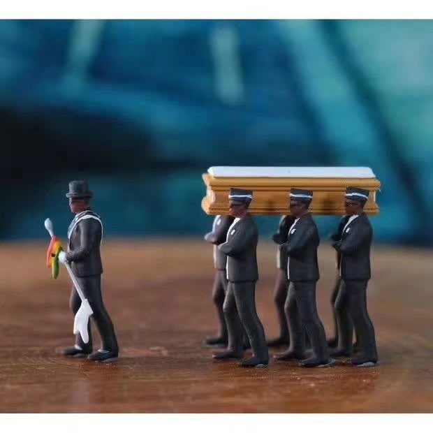 10cm Hot Ghana Dancing pallbearers Action Figure Toy Garage Kit Coffin Dance Decoration Professional Team Funny Doll Gift