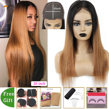 T1b/30 Honey Blonde Ombre Human Hair Wig 4x4 Lace Closure Wig Brazilian Straight Human Hair Wigs For Women Non-remy 150% Density