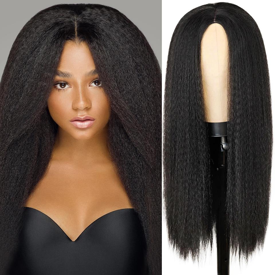 Perruques synthétiques Yaki perruque de cheveux raides pour les femmes Yaki droite 30 pouces longue perruque de cheveux Afro résistant à la chaleur fibre africaine perruque