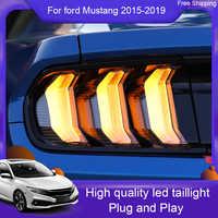 Luz trasera LED de estilo 2X para coche, luces traseras DRL, señal de giro, freno, luz LED de marcha atrás, para Ford Mustang 2010-2014/2015 -2019