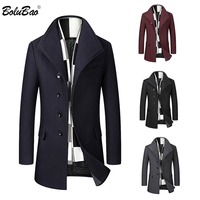 BOLUBAO Wool Blend Coats Men Winter New Men's Solid Casual Wild Wool Overcoat Quality Brand Business Luxurious Wool Coat Male