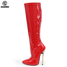 Купить с кэшбэком jialuowei new arrivals Red Patent Fetish Sexy High Stiletto Heel knee high boots Big size