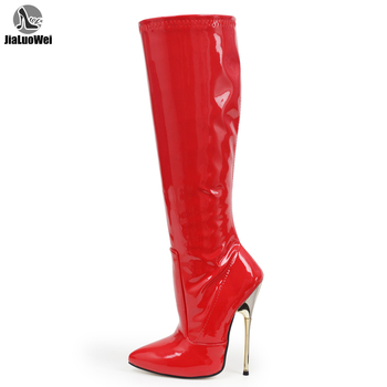 jialuowei new arrivals Red Patent Fetish Sexy High Stiletto Heel knee high boots Big size