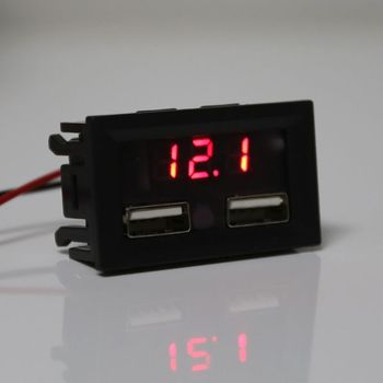 12V Lead Acid Battery Capacity Indicator Car Power Display Voltage Meter with Dual USB Charger Output 5V 2A image