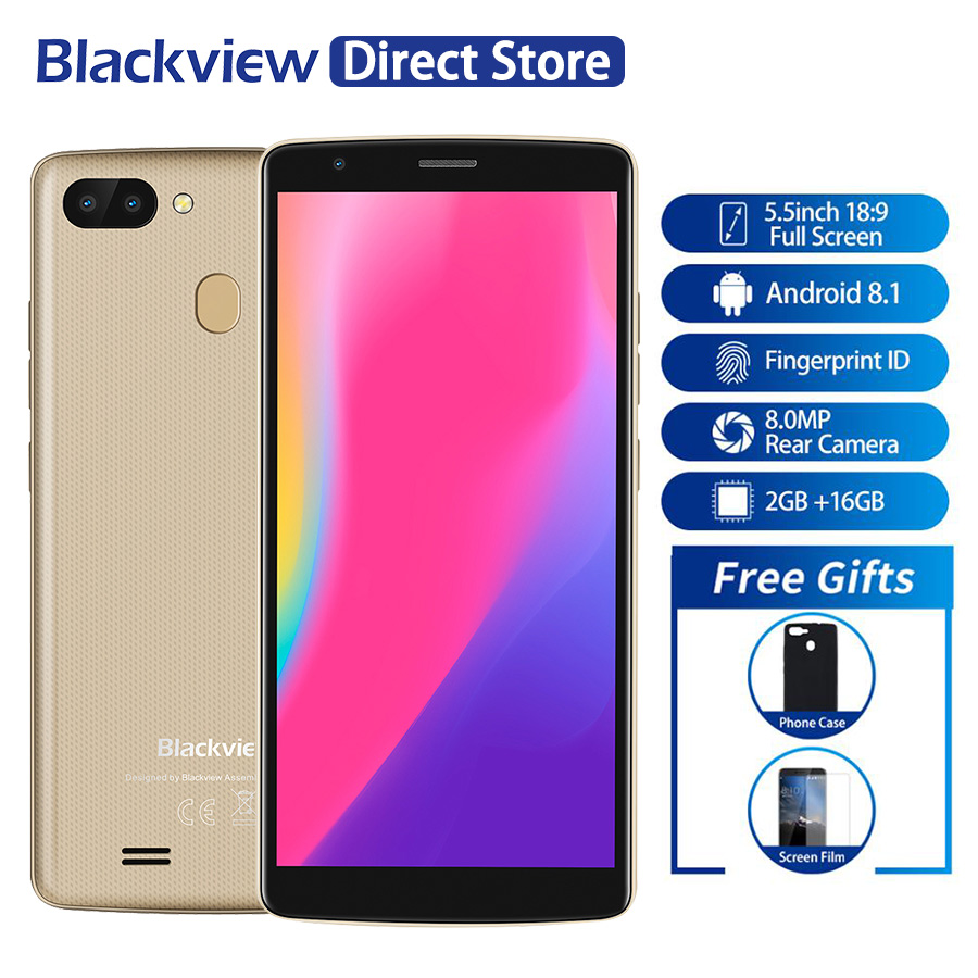Blackview A20 プロスマートフォン 18:9 5.5 インチのアンドロイド 8.1 リア指紋 ID 2 ギガバイトの RAM 16 ギガバイト ROM 4 グラム携帯電話  グループ上の 携帯電話 & 電気通信 からの 携帯電話 の中 1