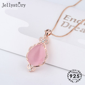 Jellystory Trendy Silver 925 Jewellery Necklace with Water drop shape Pink rose quartz zircon gemstones Pendant for Women Gifts