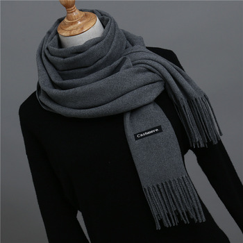 2019 Hot Sale Men Cashmere Scarf Unisex Thick Warm Winter Scarves Black and Gray Gentleman's Bussiness foulard femme - discount item  22% OFF Scarves & Wraps